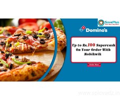 Dominos pizza Coupons, Deals, sales , and Codes: Up to Rs.100 Supercash on your order with Mobikwik