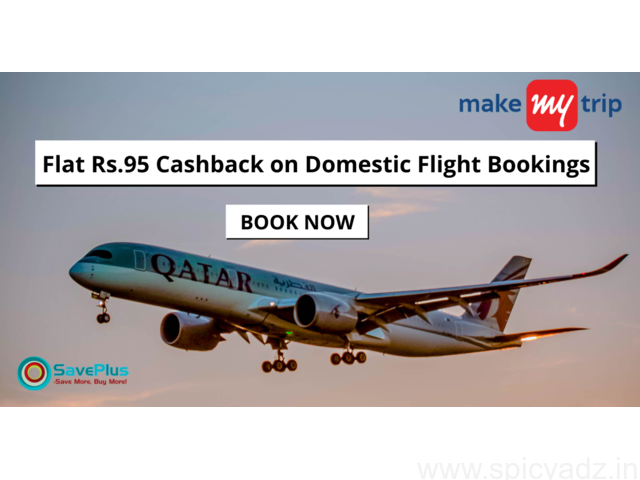 MakeMyTrip Hotels Coupons, Deals, sales , and Codes: Flat Rs.95 Cashback on Domestic Flight Bookings - 1
