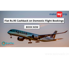 MakeMyTrip Hotels Coupons, Deals, sales , and Codes: Flat Rs.95 Cashback on Domestic Flight Bookings