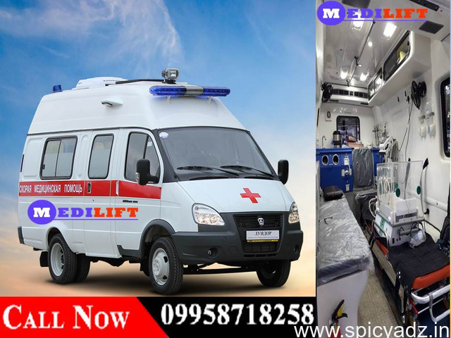Hire Minimum Fare Road Ambulance in Patna by Medilift with Doctor Facility - 1