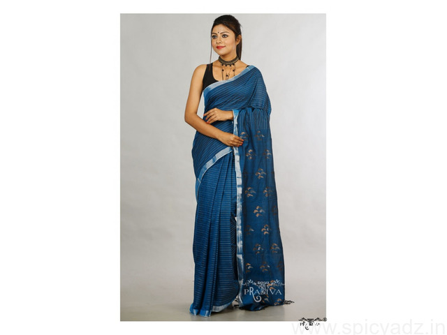 Handwoven Pure Khadi Sarees Online at a discounted price - 1