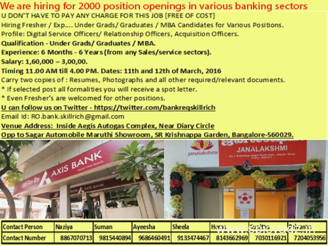 Mega Recruitment Drive on  Bank Jobs In Bangalore - 1