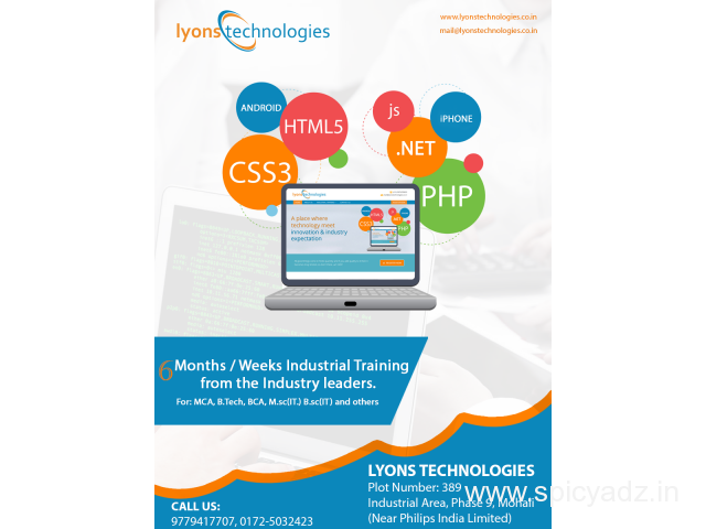 Lyonstechnologies For Live 6 Months Industrial Training in Chandigarh & Mohali - 1
