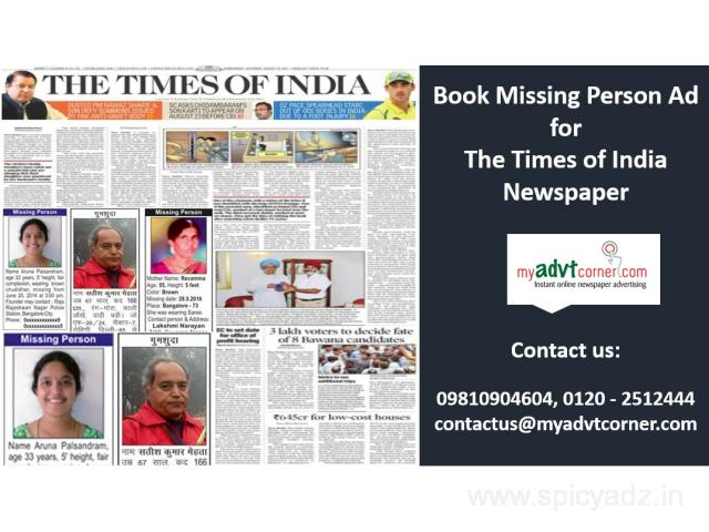 The Times of India Missing Person Advertisement Mumbai - Free