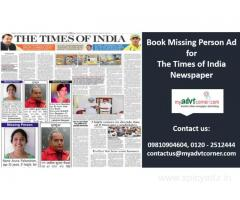 The Times of India Missing Person Advertisement