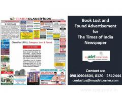 The Times of India Lost and Found Advertisement